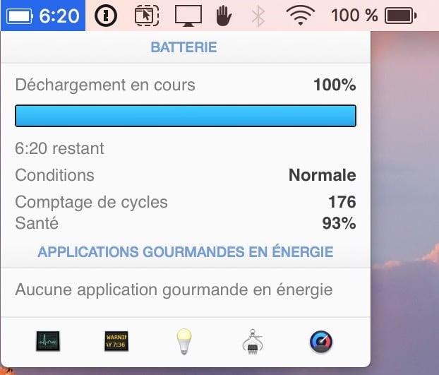 Afficher le temps restant de la batterie sous macos sierra istat menus preferences