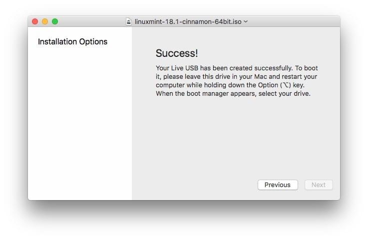 Essayer Linux sur Mac success