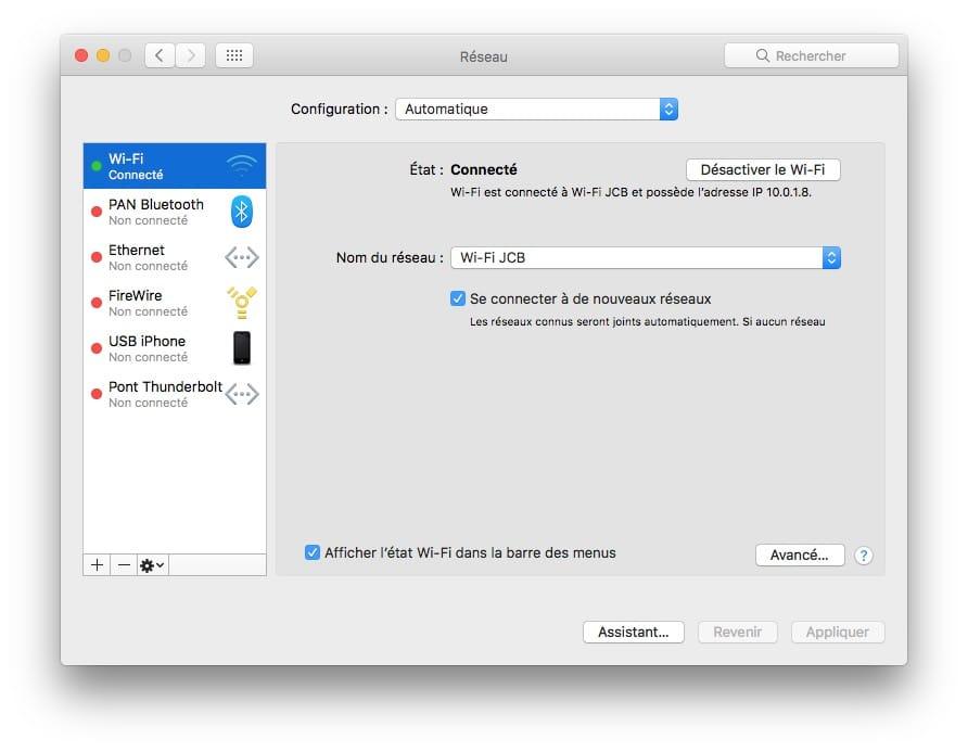 Changer l'adresse IP d'un Mac reseau avance mac os