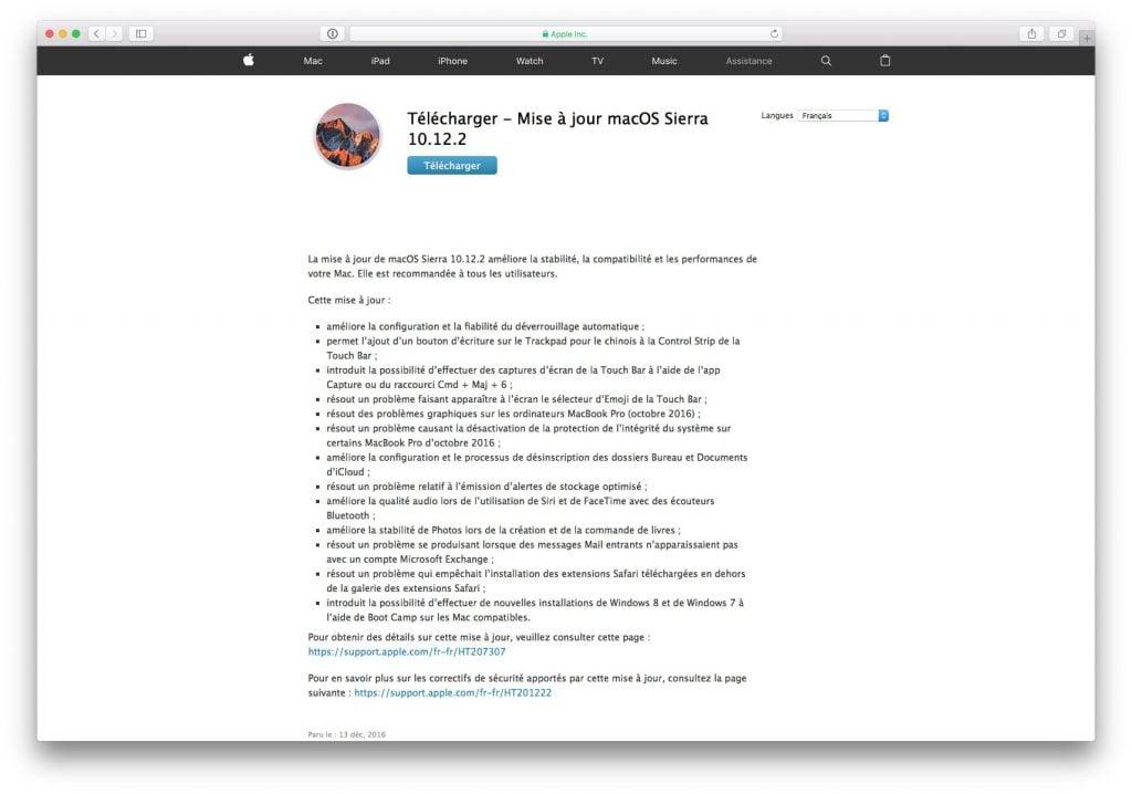 Télécharger directement les mises à jour Mac-OS-Sierra
