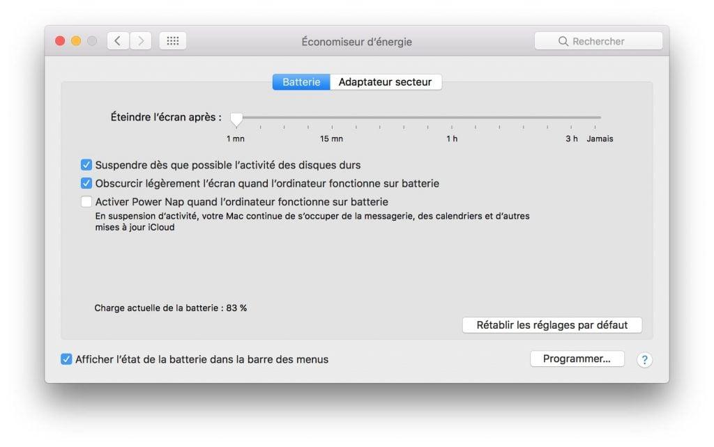 éteindre écran de son Mac économiseur d'énergie