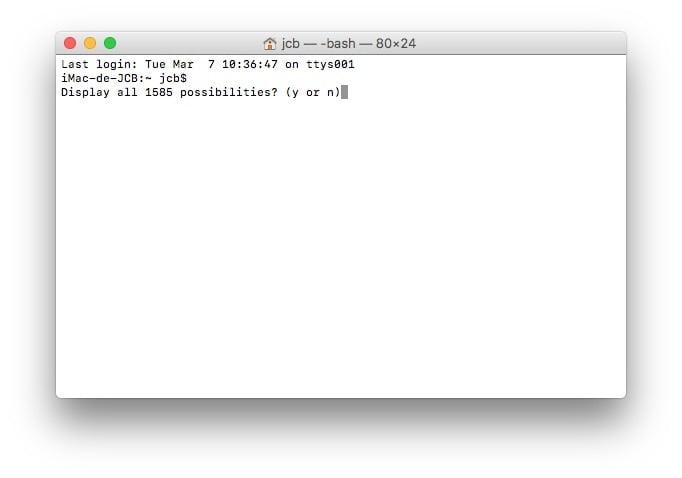 Afficher toutes les commandes du Terminal Mac escape ou tab