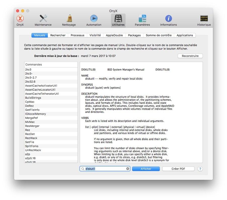 Afficher toutes les commandes du Terminal Mac manuels onyx