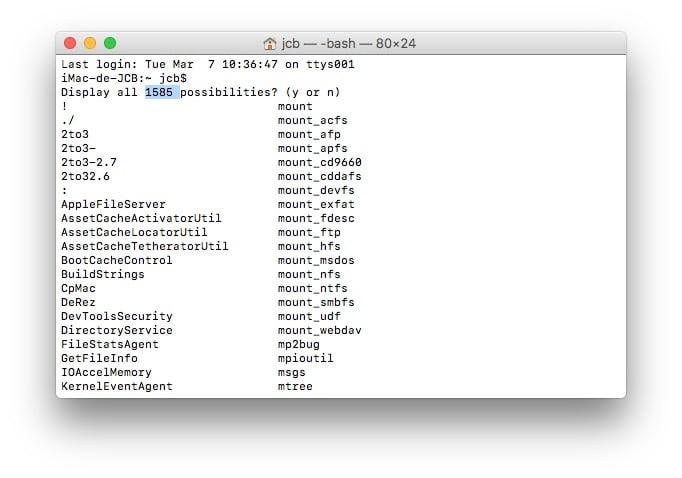 Afficher toutes les commandes du Terminal Mac yes