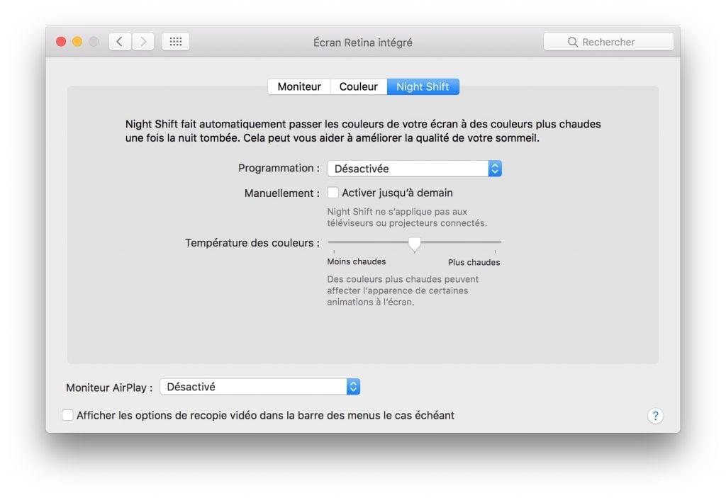 Night Shift mac OS activer