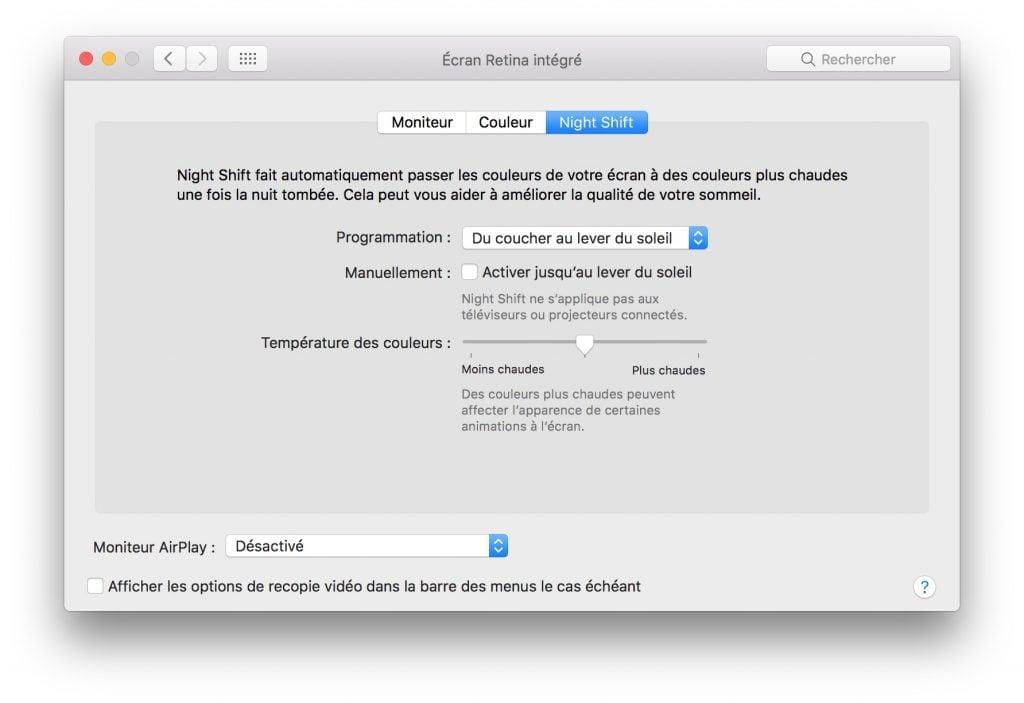 Night Shift mac OS du coucher au lever du soleil