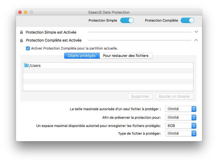 Restaurer des fichiers effaces sur Mac activer protection