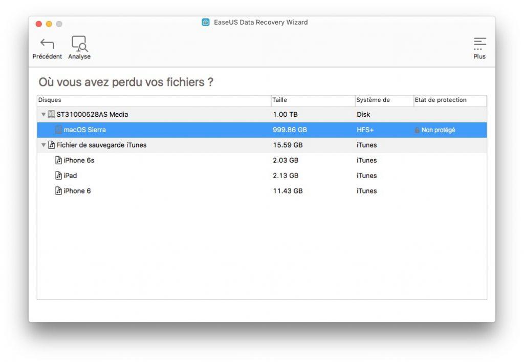 Restaurer des fichiers effaces sur Mac choix disque