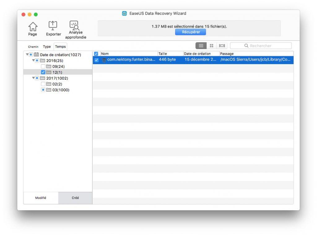 Restaurer des fichiers effaces sur Mac par date