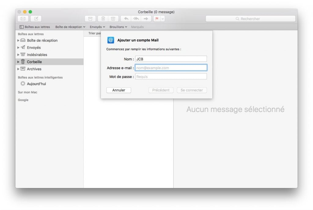 Ajouter un compte Apple Mail autre fai