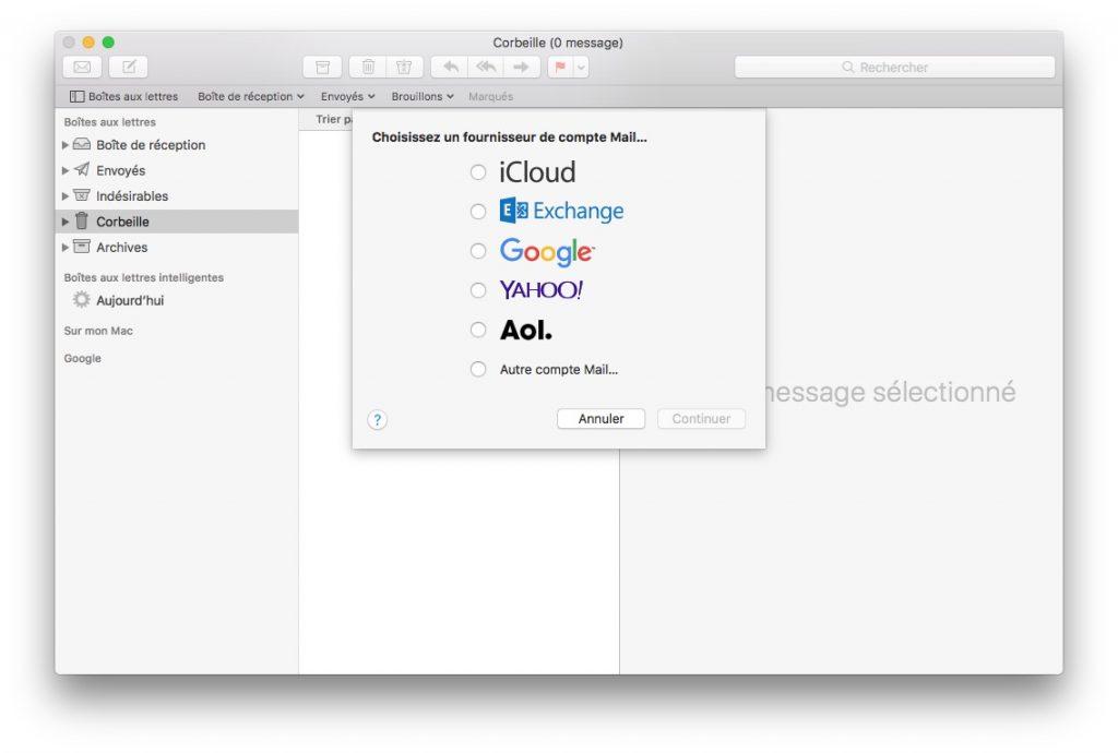 Ajouter un compte Apple Mail configuration