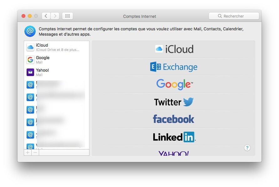 Configurer un compte Apple Mail comptes internet