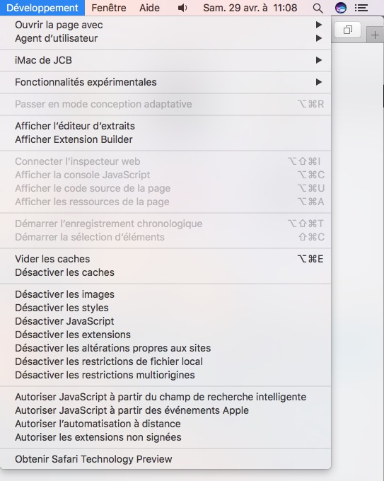 Reinitialiser Safari Mac vider les caches menu developpeur