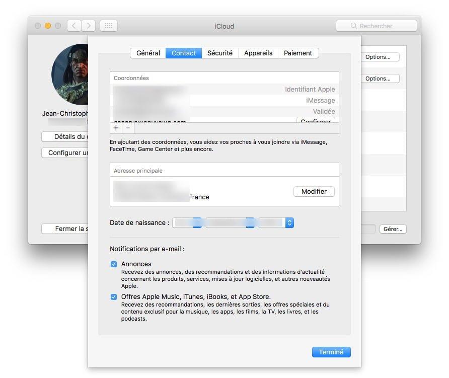 coordonnees adresse principale compte apple