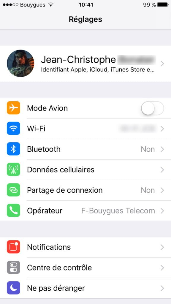 identifiant apple gestion iphone ipad ios 10.3.1