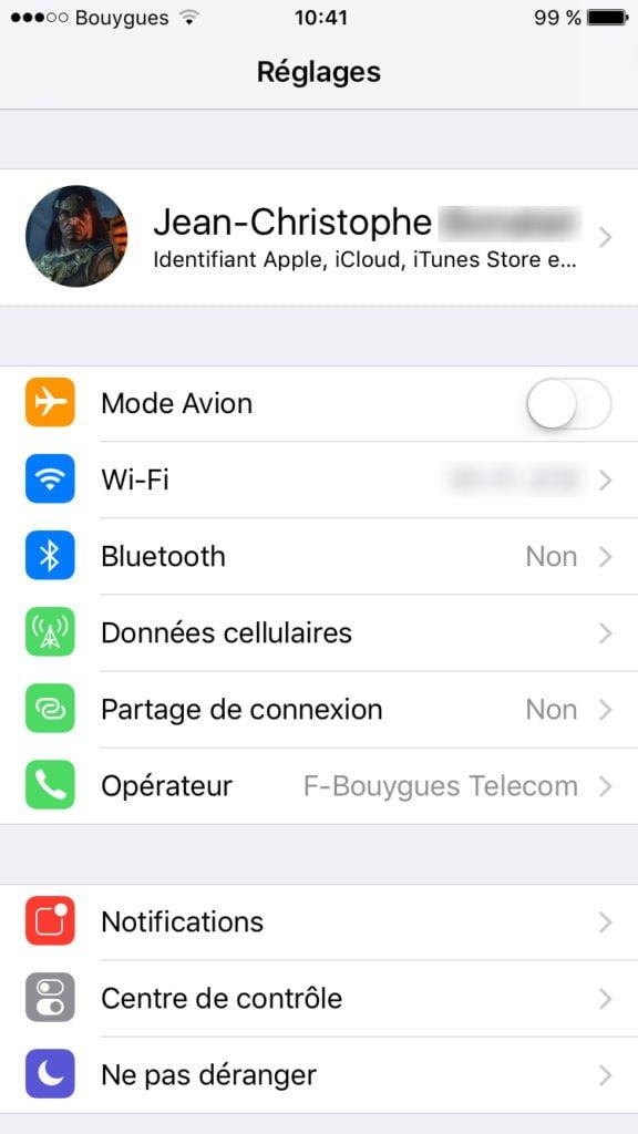 identifiant apple gestion iphone ipad ios 10.3.1