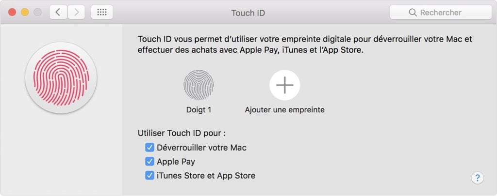 Configurer Touch ID sur Macbook pro