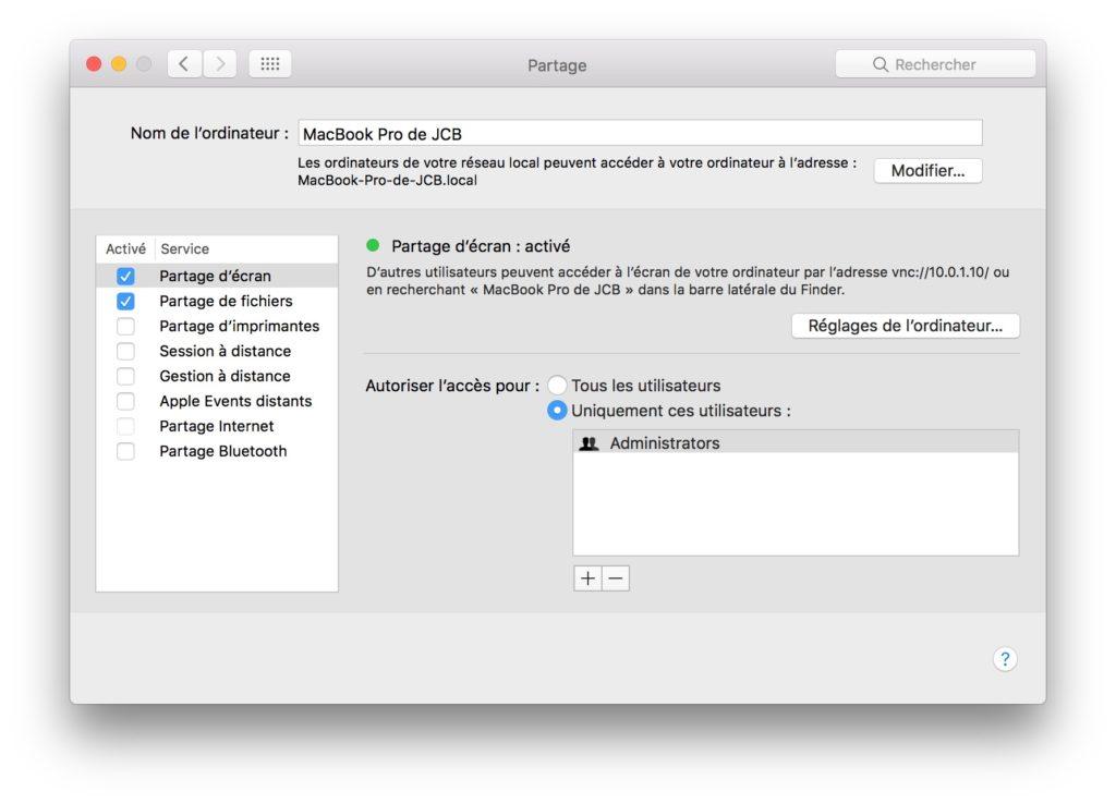 Controler un Mac a distance partage ecran