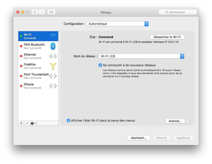 Trouver son adresse IP locale sur Mac