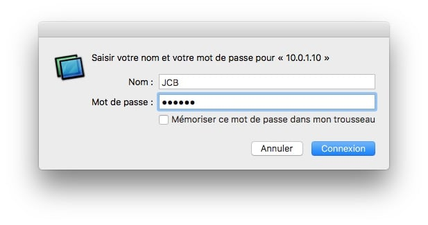 nom et mot de passe client vnc mac