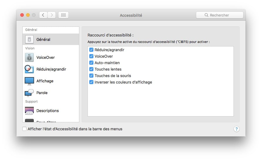 touch id options accessibilite macbook