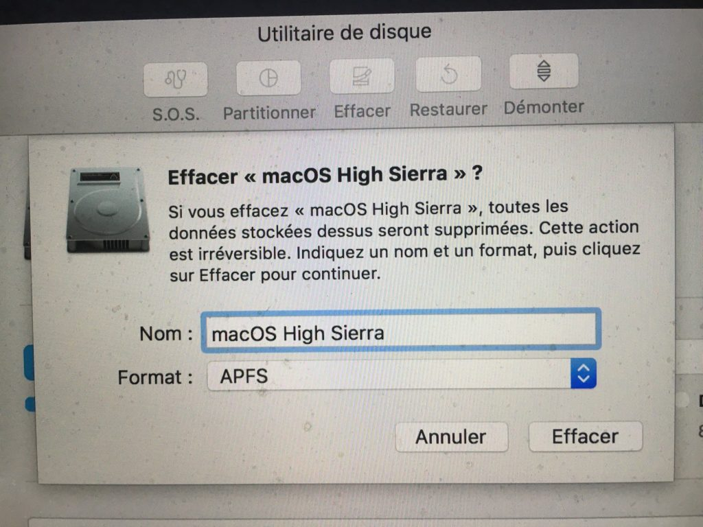 APFS macOS High Sierra formatage apfs