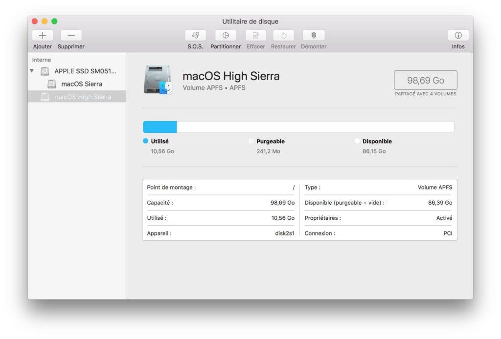 APFS macOS High Sierra ssd actif