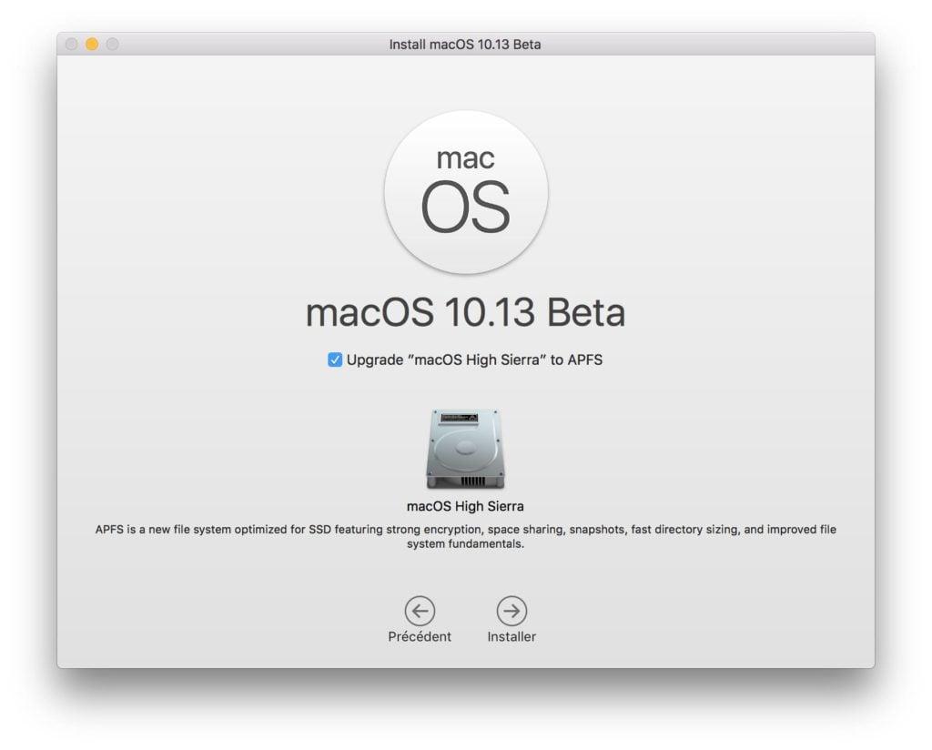 APFS macOS High Sierra upgrade installation