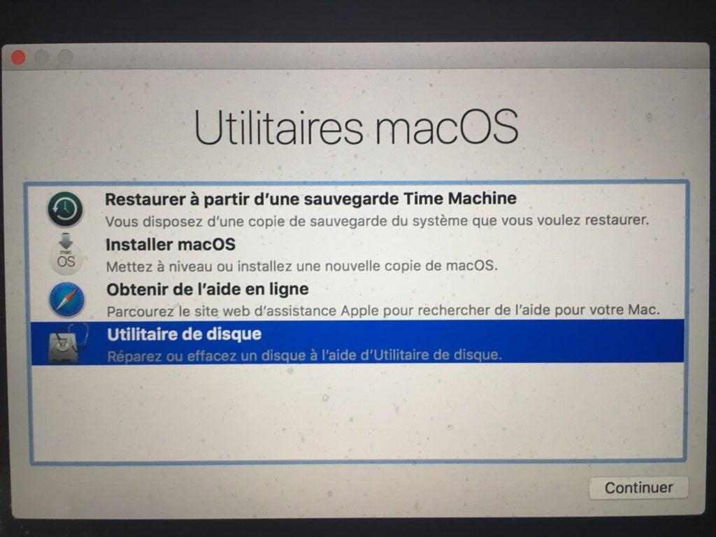APFS macOS High Sierra utilitaires macOS