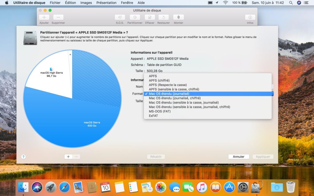 apfs macos high sierra formater disque