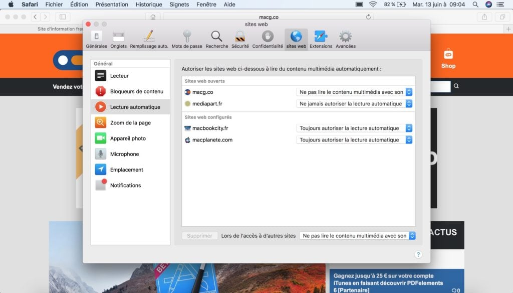 autoplay safari gestion sites web