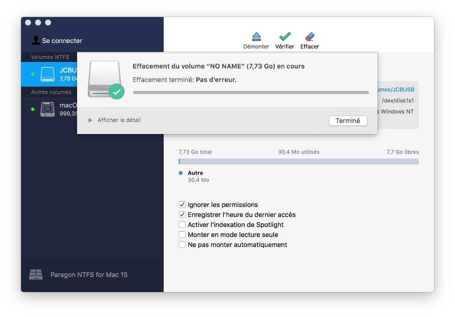 effacer volume en ntfs sur mac
