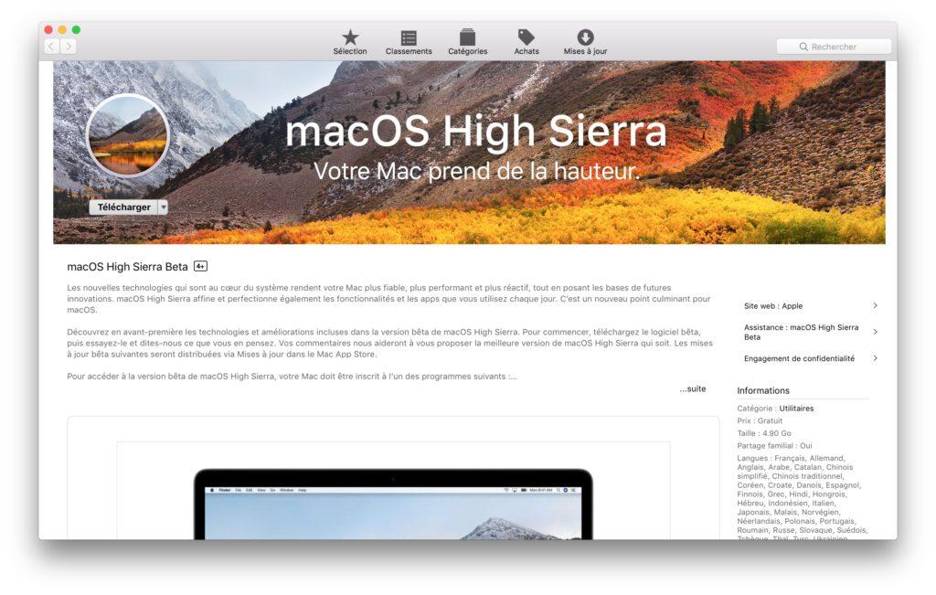 Installation macOS High Sierra app store