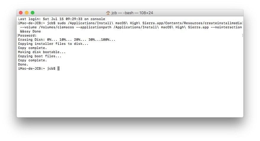 Installer macOS High Sierra avec Parallels Desktop cle usb bootale