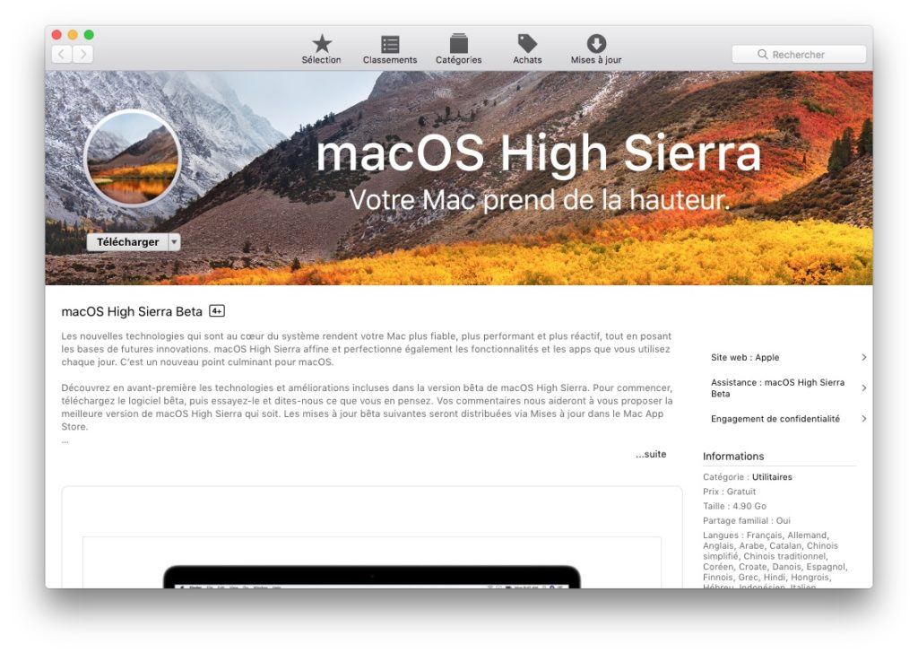 Installer macOS High Sierra avec Parallels Desktop en machine virtuelle telecharger high sierra