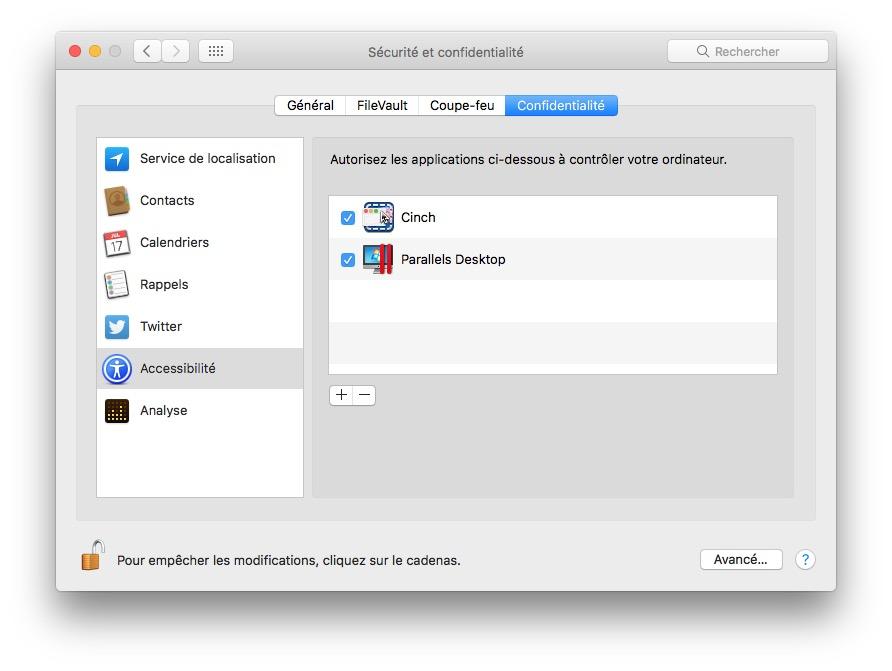 installer macOS High Sierra avec Parallels Desktop autoriser controle