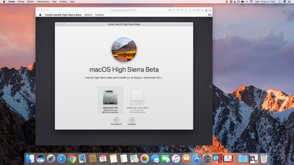 installer macOS High Sierra avec Parallels Desktop disque virtuel 64