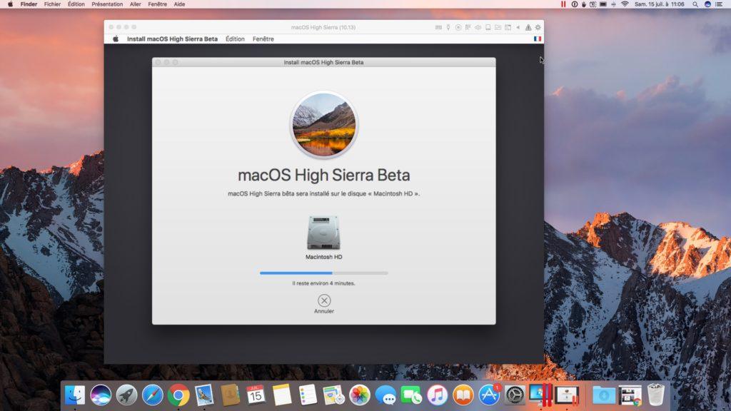 installer macOS High Sierra avec Parallels Desktop en cours