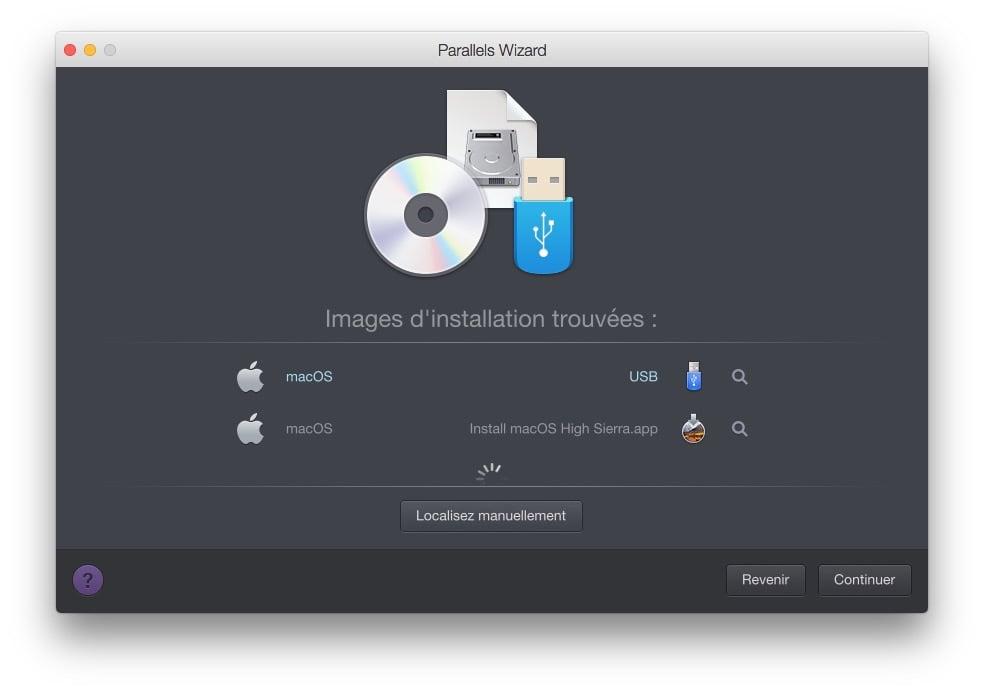 installer macOS High Sierra avec Parallels Desktop images trouvees