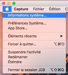Trouver le numero de version de son Mac informations systeme