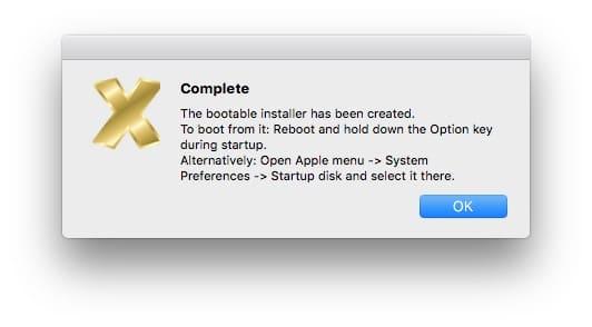 Cle USB bootable macOS High Sierra 10.13 terminee