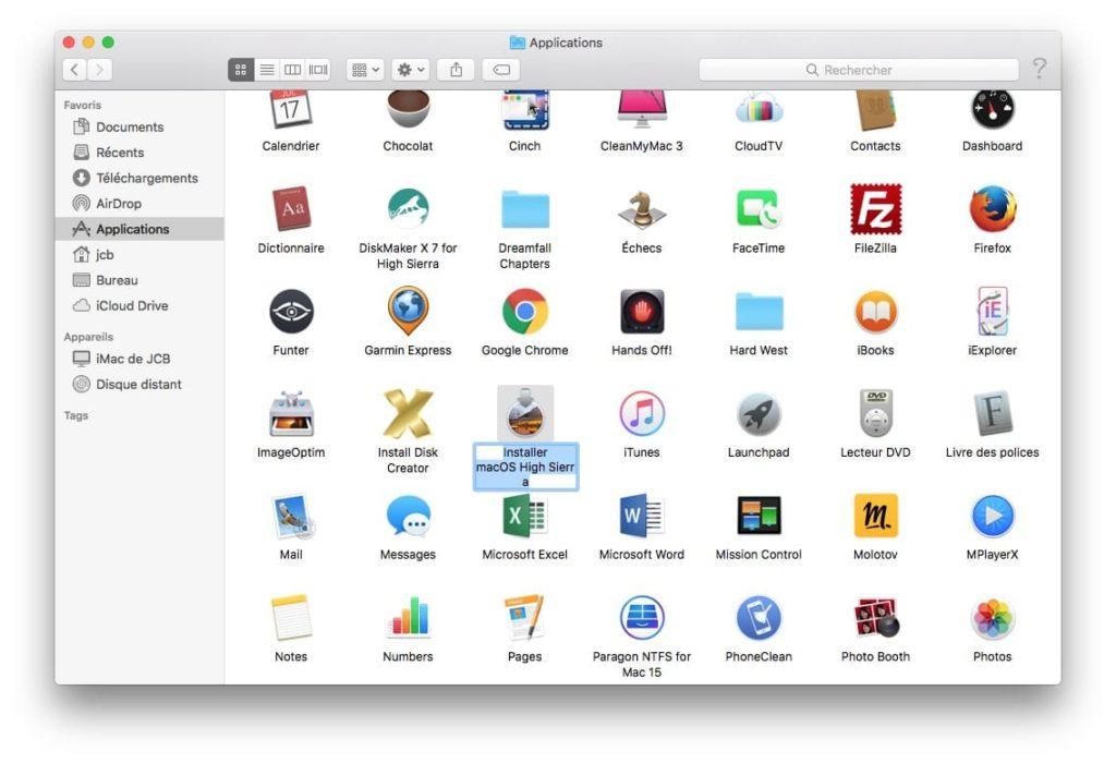 Cle USB bootable macOS High Sierra dans dossier applications