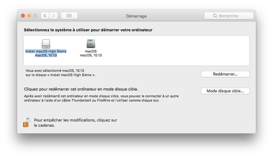 Cle USB bootable macOS High Sierra demarrage par defaut