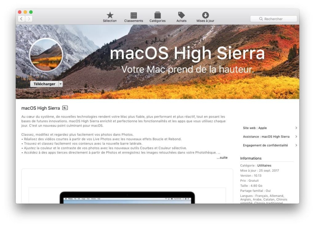 Cle USB bootable macOS High Sierra telecharger app store