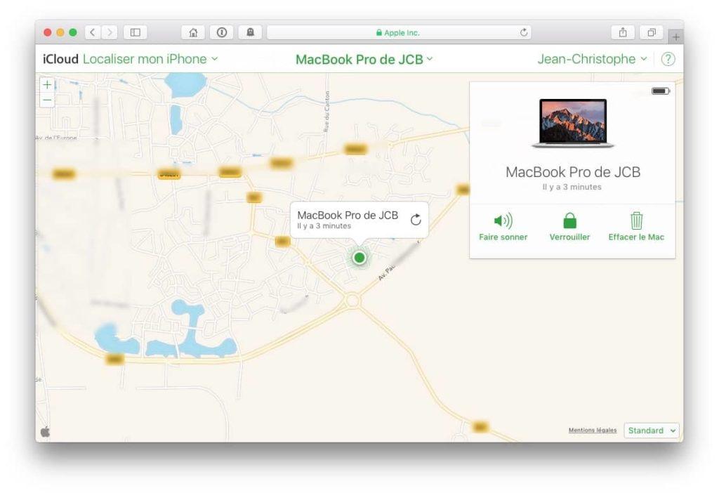 Localiser mon Macbook avec icloud