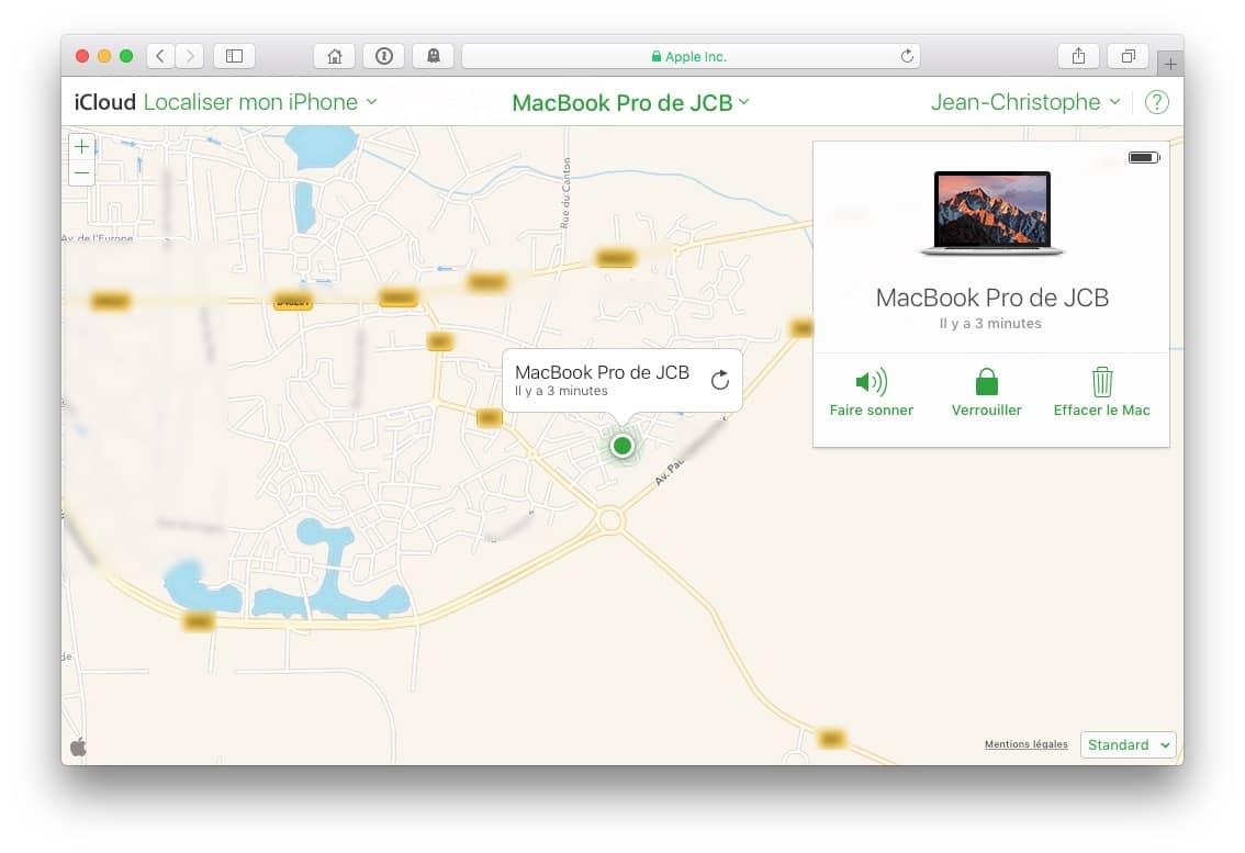 Localiser mon Mac : activer d'abord le service sur iCloud…