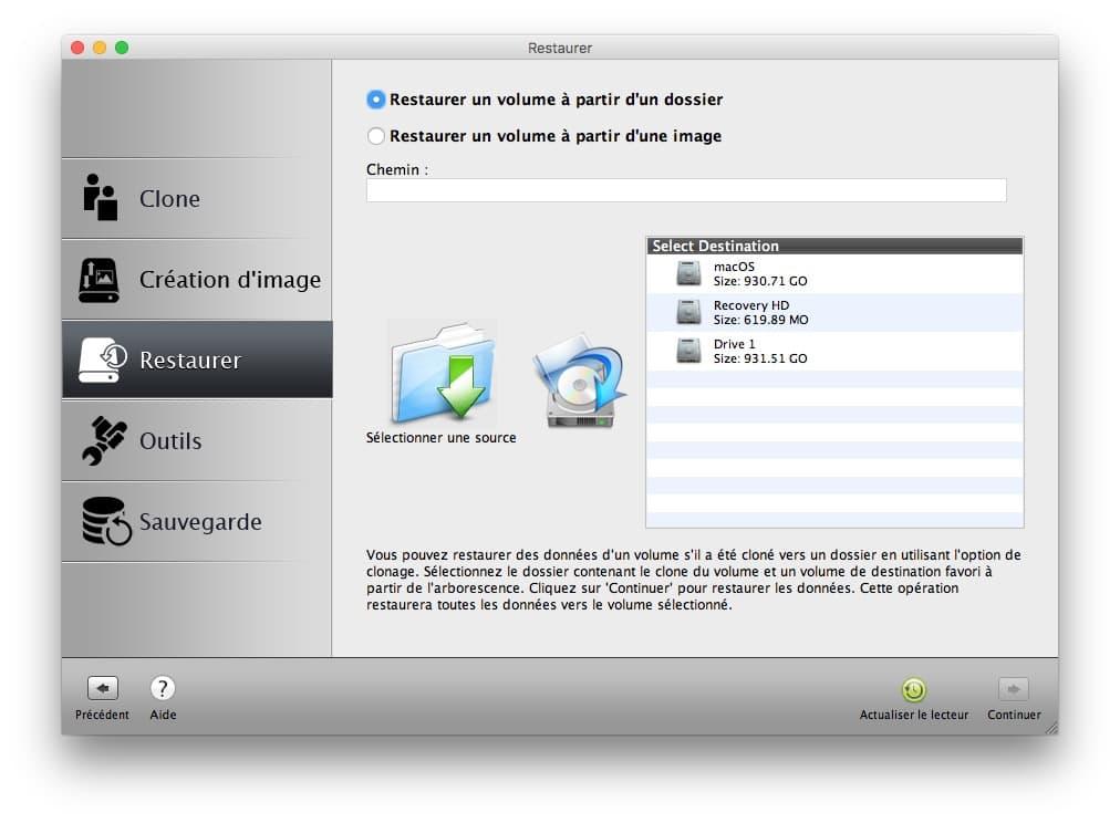 restaurer image disque mac