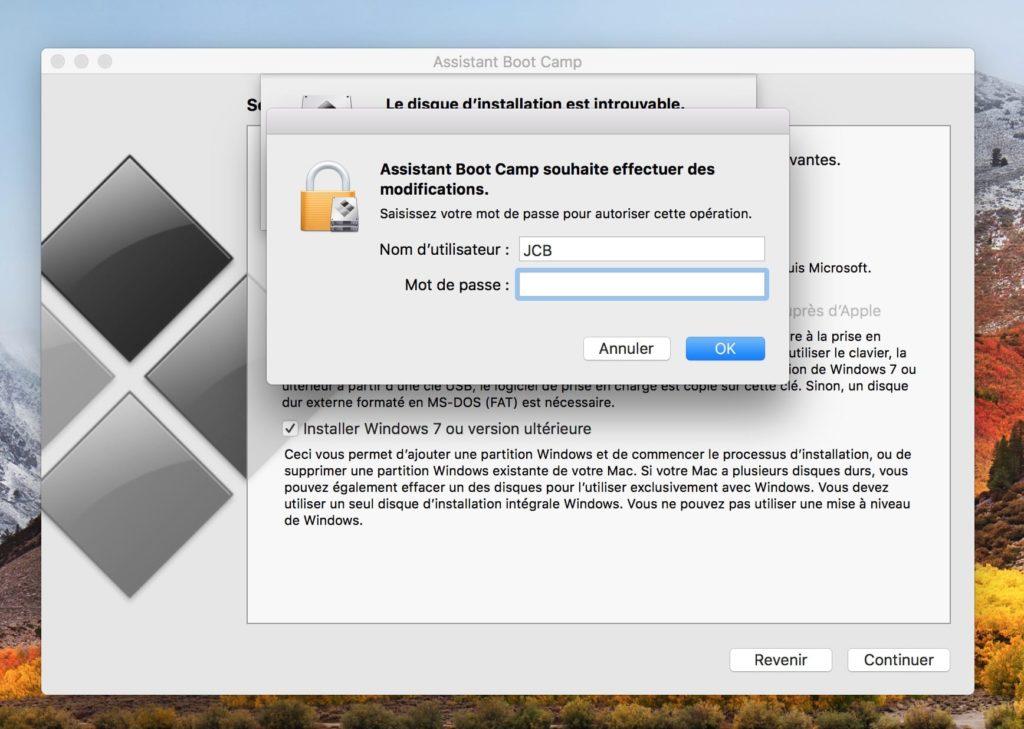 Dual boot macOS High Sierra Windows 10 mot de passe admin