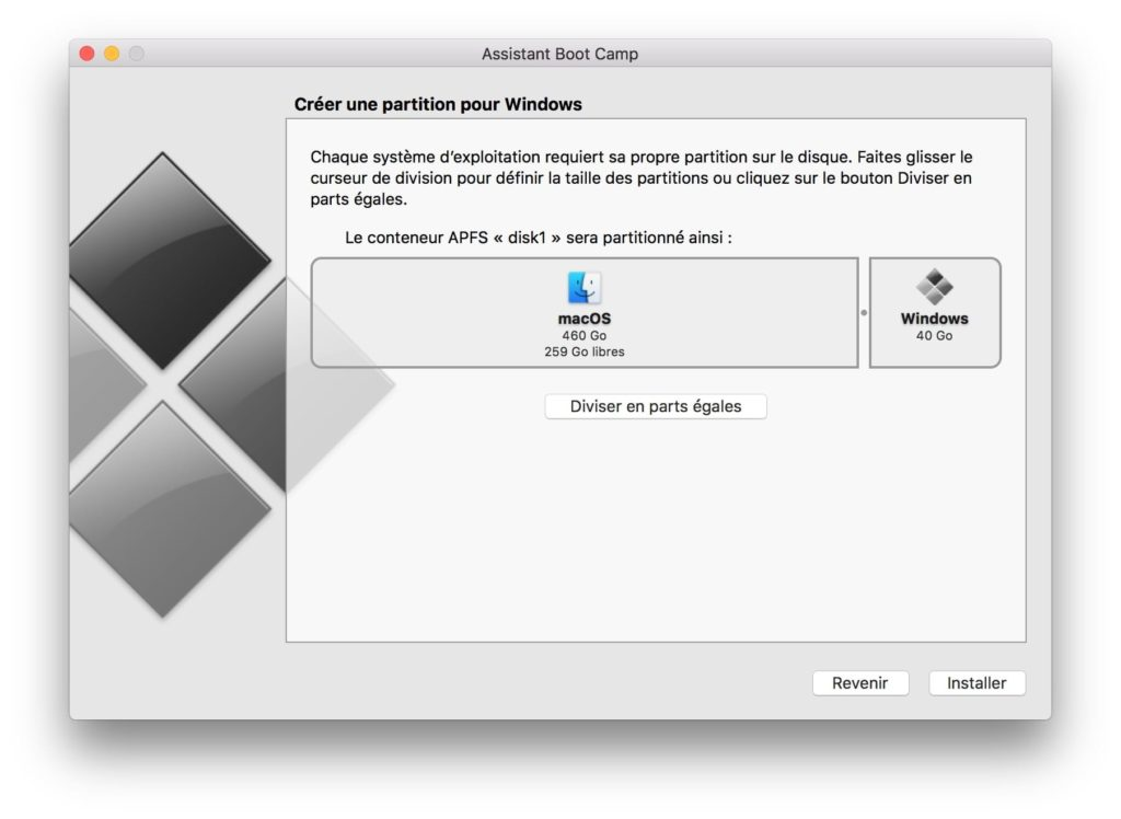 Dual boot macOS High Sierra Windows 10 partionner disque principal