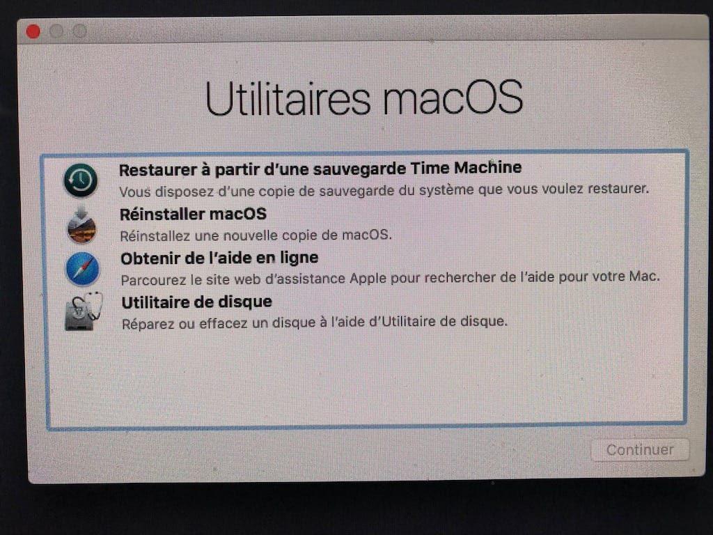 Reinstaller macOS High Sierra nouvelle copie